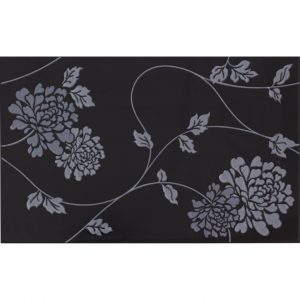 Isadore floral black on white, 25×40