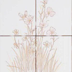 Vintage -kuvio, valkoinen kukka